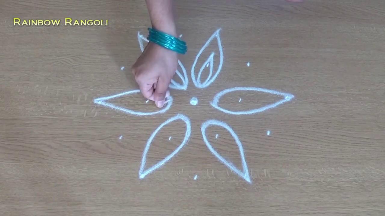 Small Flower Kolam Designs With 5 3 Dots Beginners Rangoli