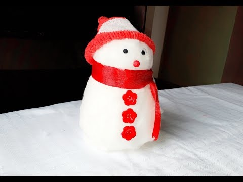 How To Make Snowman With Cotton-christmas | DIY | sneha's art