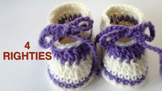 Crochet Easy Baby Slippers (4 RIGHTIES)