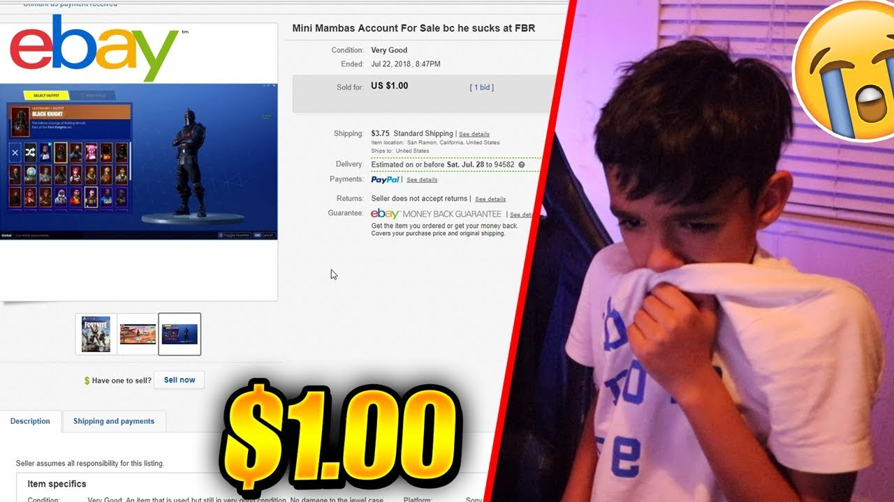 I Actually Sold My Little Brother S Fortnite Account On Ebay He Cries Youtube
