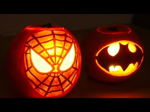 Halloween Pumpkin Superheros  Spiderman & Batman