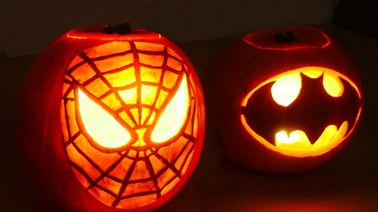 Halloween Pumpkin Superheros Spiderman Batman Youtube