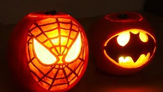 Halloween Pumpkin Superheros - Spiderman & Batman
