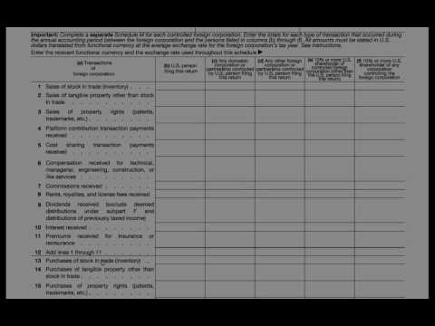 Form 5471 Schedule M - Transactions Between CFCs and Related Persons
