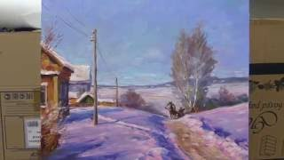 Winter landscape. Workshop  in English from Oleg Buiko. Oil painting.