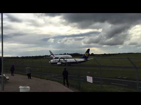 Emirates A380 departure from Birmingham Airport