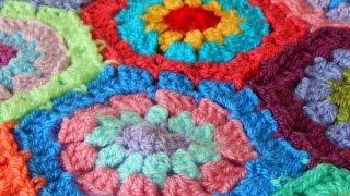 Бабушкин шестиугольник | Мотив крючком для пледа