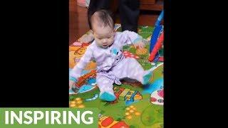 Falling baby awakens this dad's reflexes