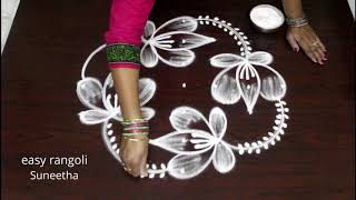 Cute n bright lotus rangoli kolam arts by Suneetha || easy n simpe muggulu