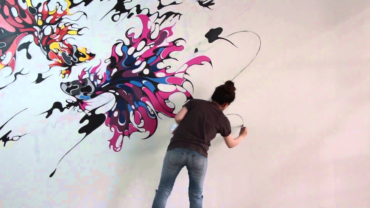 Wall painting art for the boxing gym youtube for Wall spray painting designs