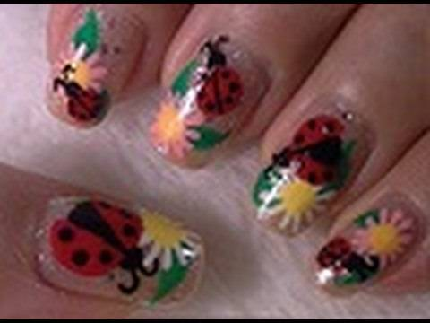 lady bug nail art tutorial arte