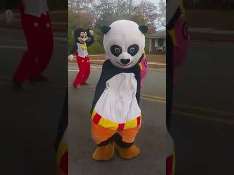 Kung Fu Panda and Dora Dancing at the Scotland County Christmas Parade