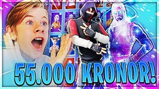 SHOWS MY * 55.000 KRONORS * FORTNITE SKINS & SETTINGS!!! -FORTNITE IN ENGLISH!!