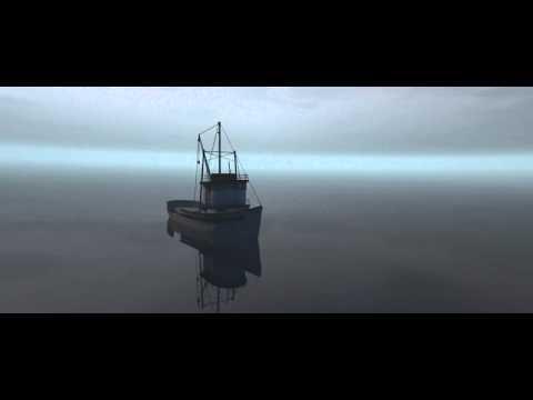 3D boat on calm sea