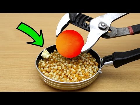 EXPERIMENT Glowing 1000 degree METAL BALL vs Popcorn