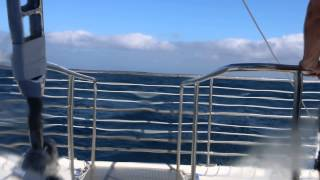 Kauai Catamaran ride on 15 foot swells view from inside boat