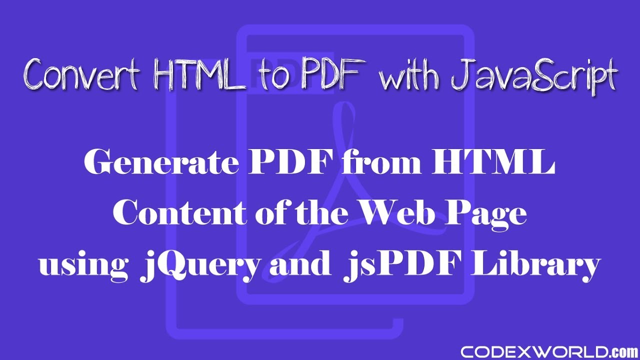 Convert Html To Pdf Using Javascript Youtube