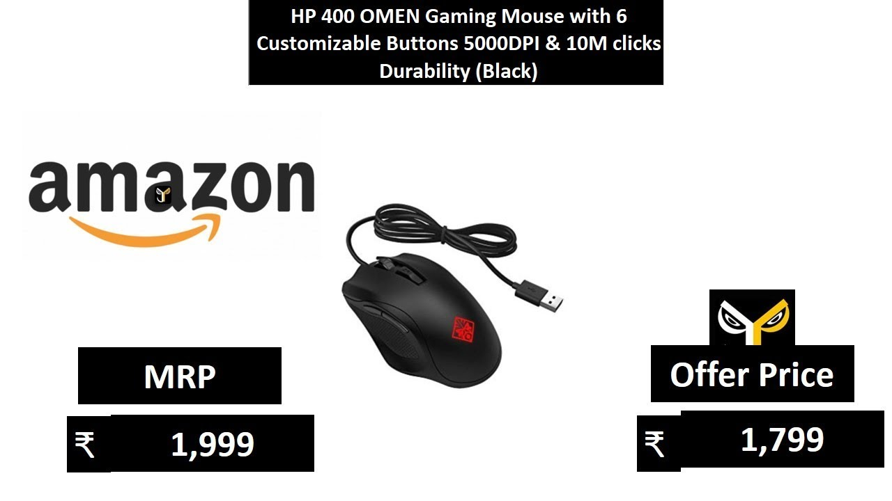 HP 400 OMEN Gaming Mouse with 6 Customizable Buttons 5000DPI & 10M clicks  Durability (Black)