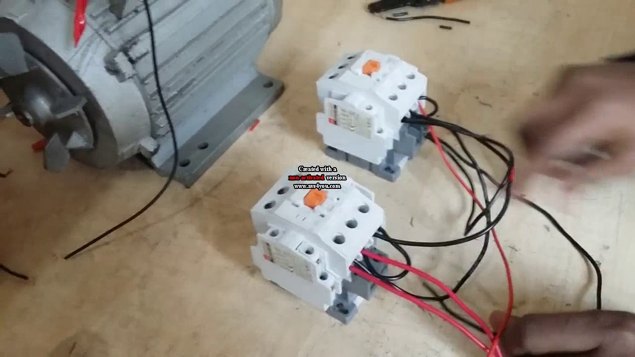how to make single motor reverse and forward connection by reverse forward starter youtube [ 1280 x 720 Pixel ]