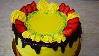 Бисквитный торт КЛУБНИЧКА торт с клубникой Украшение тортов фруктами , безе ,кремом