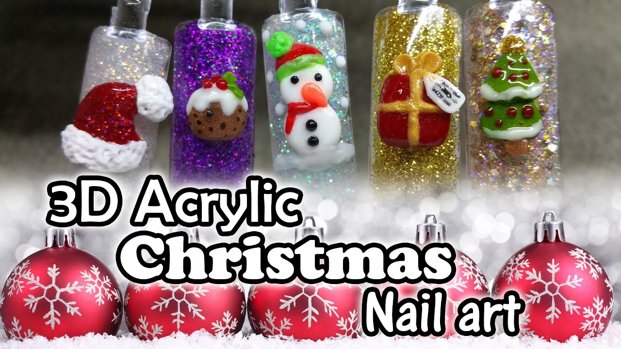 3d Christmas Nail Art Acrylic Nails Youtube