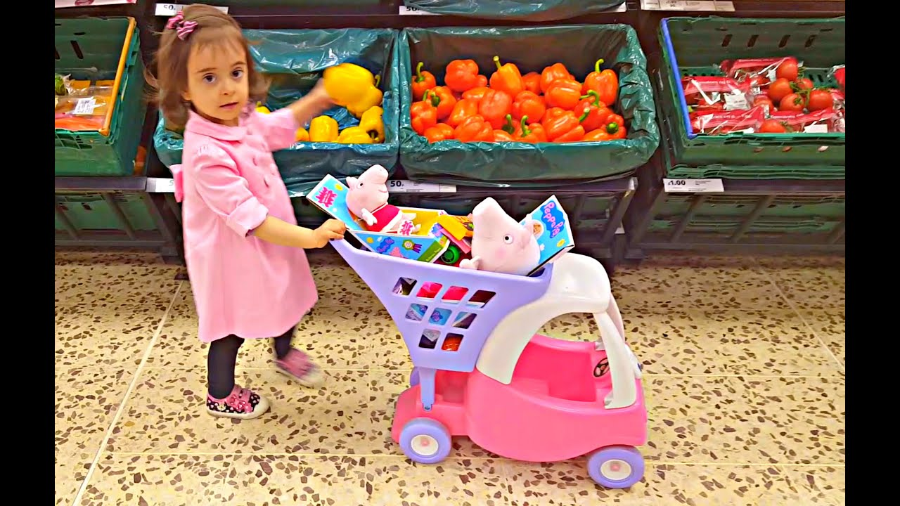 Little Girl Doing Grocery Shopping at Supermarket Mini Cart