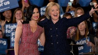 Demi Lovato Supports Hillary Clinton During Political Rally In Iowa