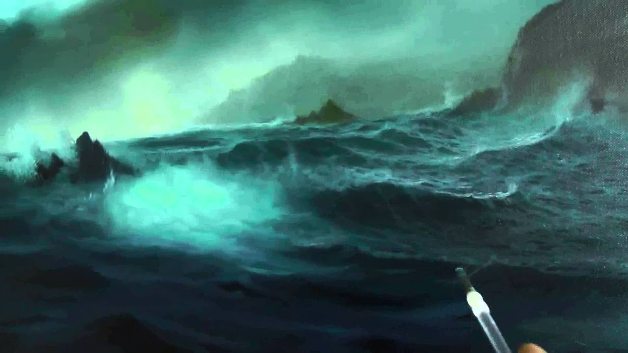 How To Paint The Ocean And Waves Stormy Cove Part 4 By