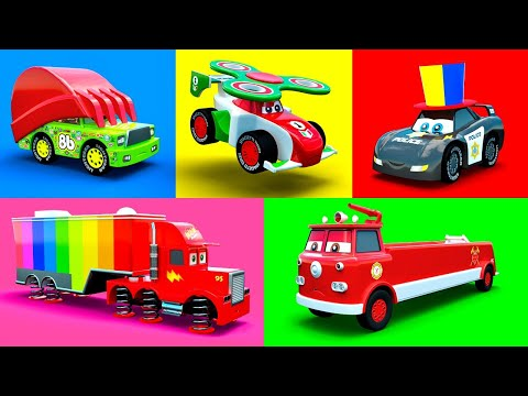 Wonderful Cars McQueen, Mack, Fire Truck, Excavator, Police Car, Garbage Truck & more Color Vehicles