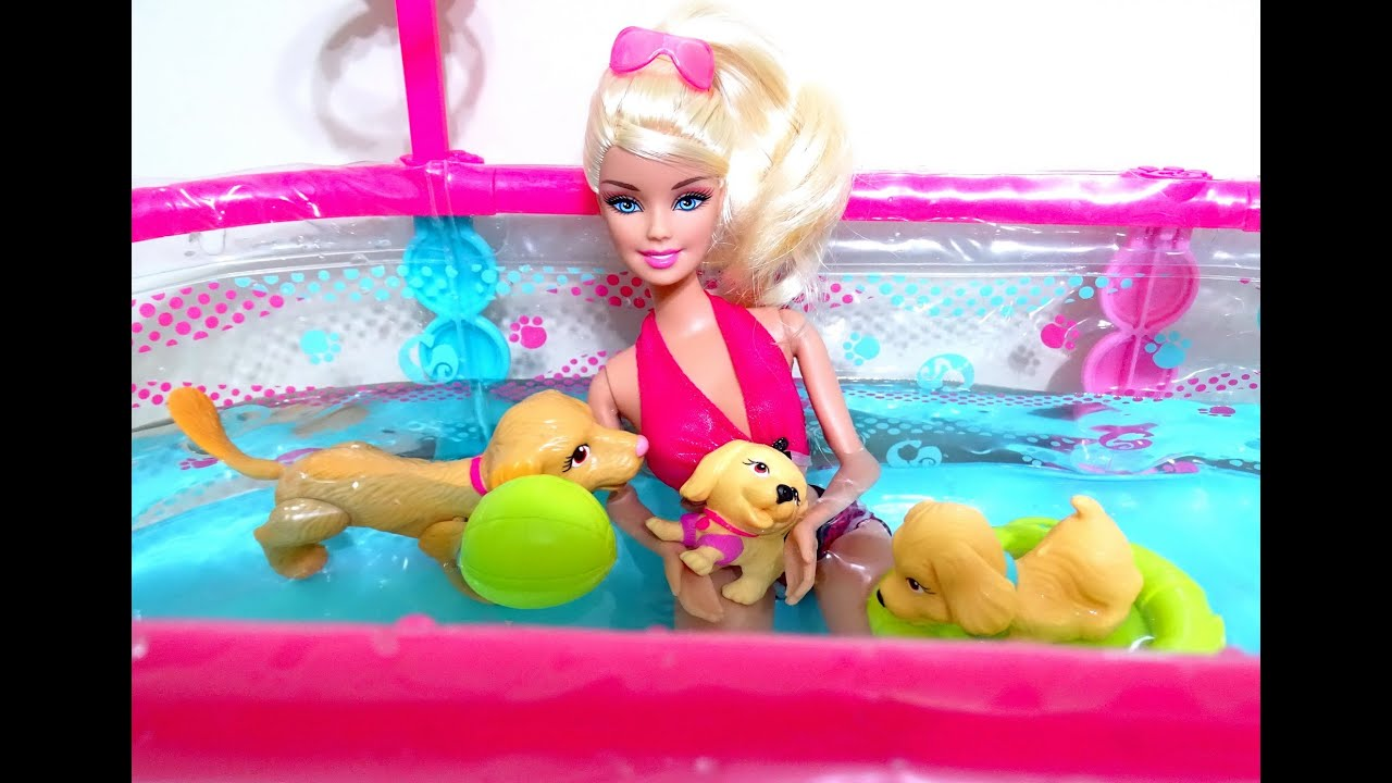 Barbie With Dog And Puppies