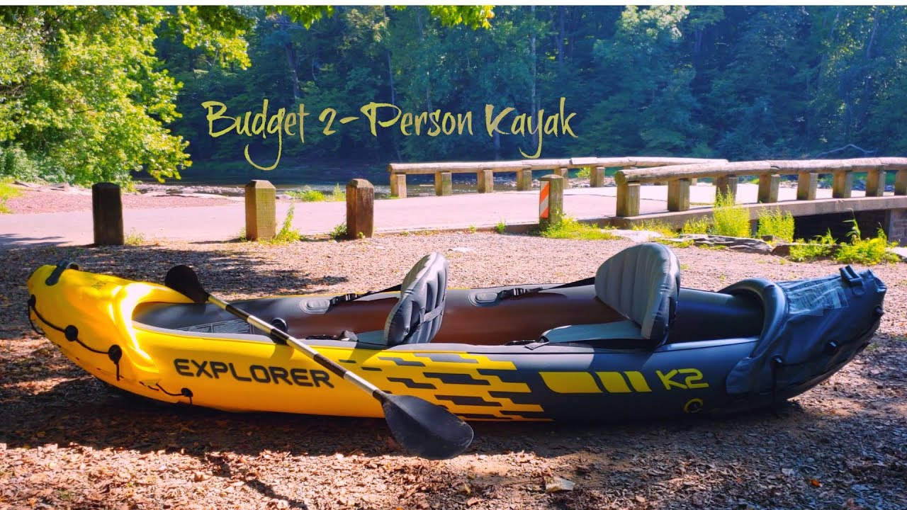 K2 Explorer Kayak 2 Man Inflatable Canoe with Oars by Intex