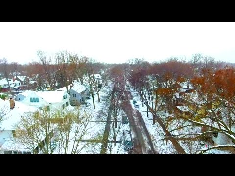CBS 2's Drone Flies Over Snowy Landscape In Evanston