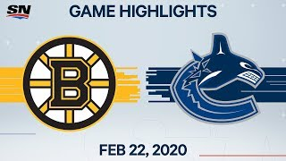 NHL Highlights | Bruins vs. Canucks - Feb. 22, 2020