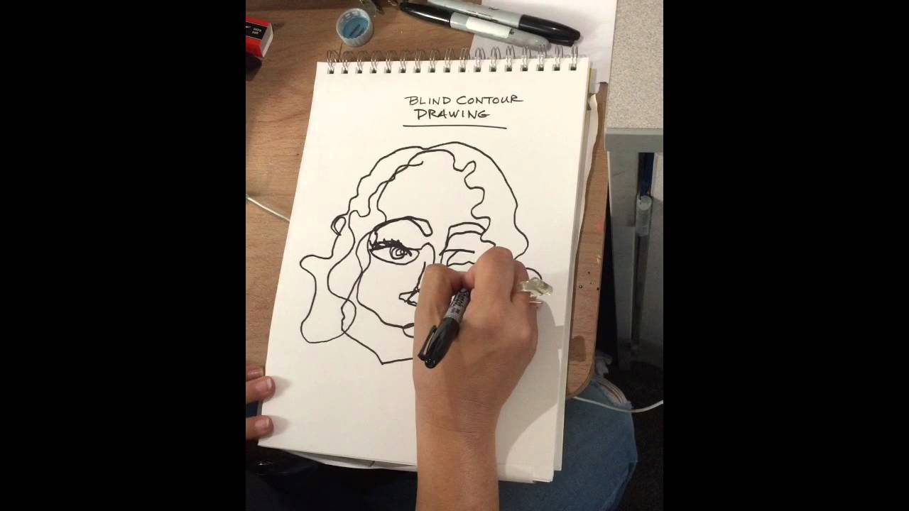 Contour Line Drawing Rose : Blind contour drawing simple rules youtube
