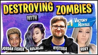 Hysteria | Fortnitemares | Destroying Zombies! Squads with Roxy, Avajaijai and Jordan Fisher