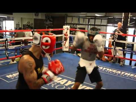 Ashley Theophane spars Errol Spence inside the Mayweather Boxing Club