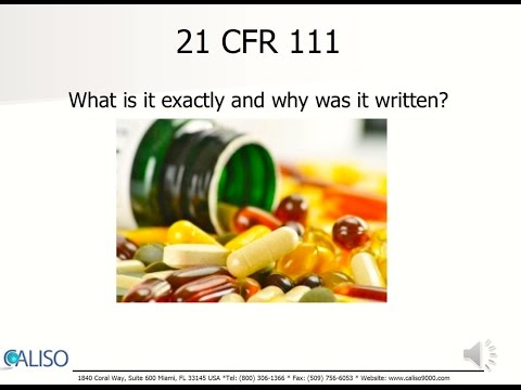 GMP for Dietary Supplements (FDA) - 21 CFR 111 Overview