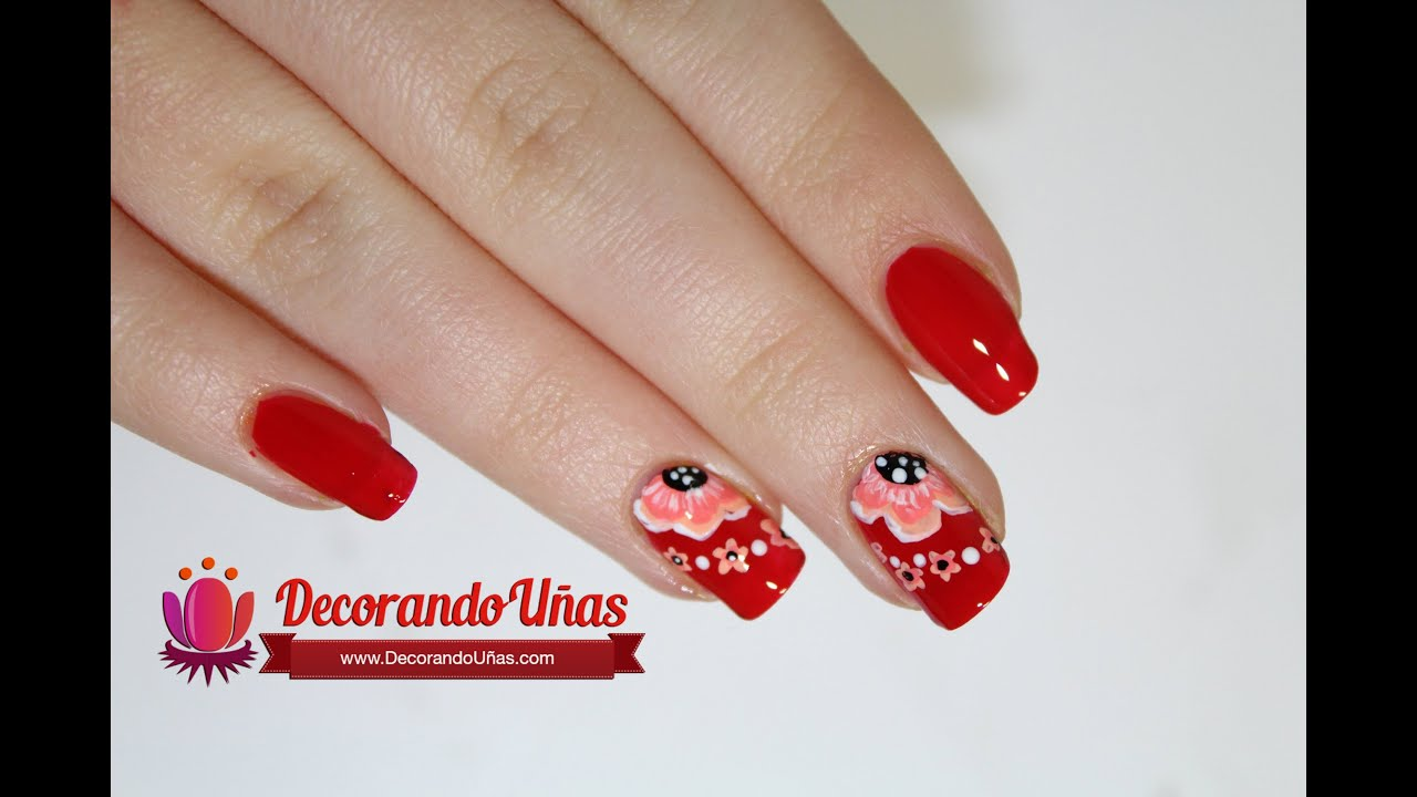 Uñas Color Rojo Decoradas Con Hermosa Flores Youtube