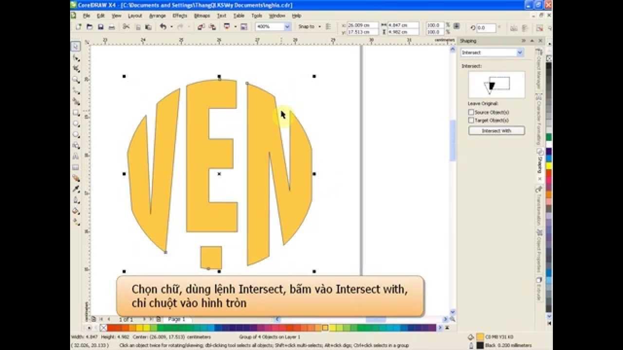 Tạo chữ vòng tròn, chữ triện với corel x4