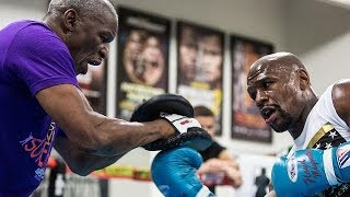 FLOYD MAYWEATHER BRINGS IN FATHER TO WORK MITTS; FINISHING TOUCHES FOR MCGREGOR CLASH