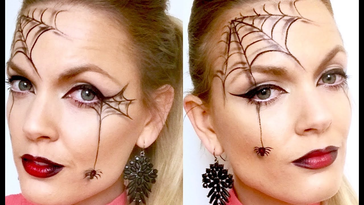 quick and easy spider web halloween makeup youtube. Black Bedroom Furniture Sets. Home Design Ideas