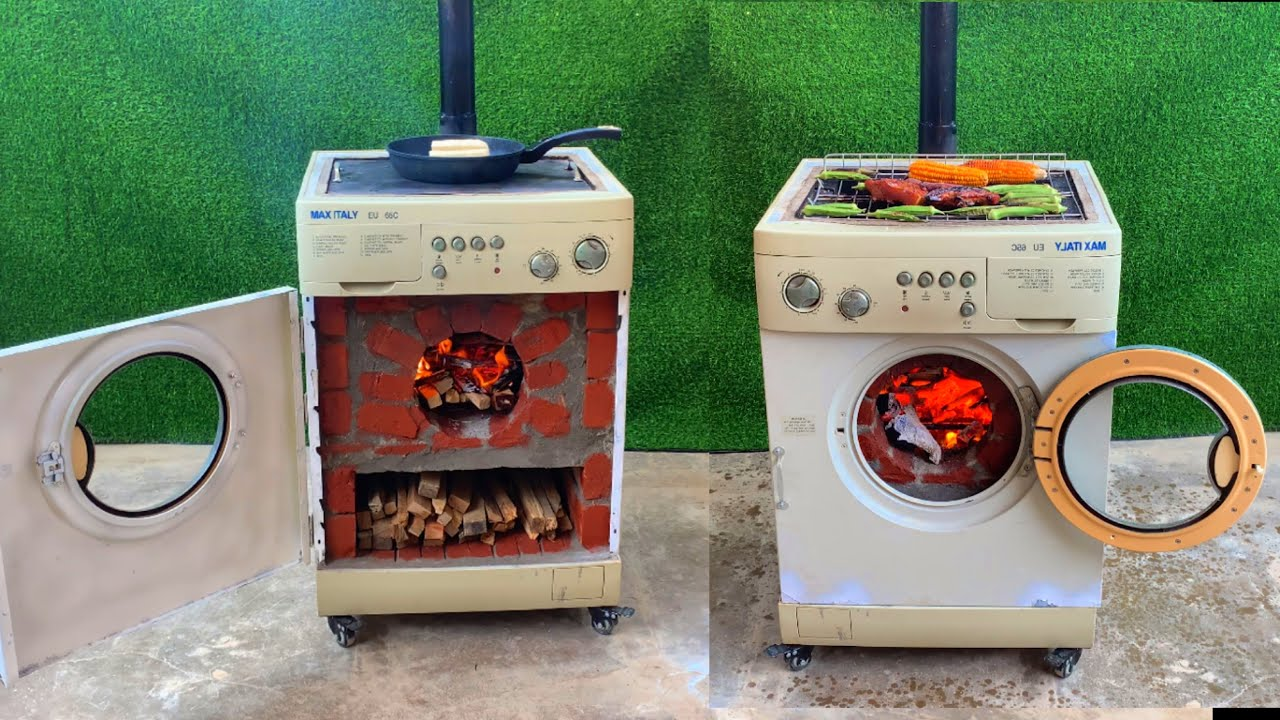 Download Multi-function wood stove _ Creative idea from cement and old washing machine