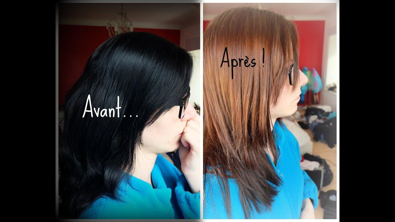 Enlever couleur noir sur cheveux