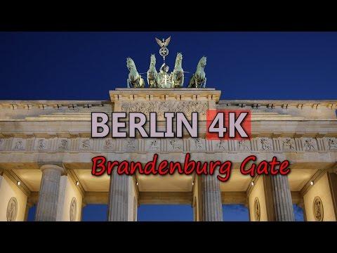Ultra HD 4K Berlin Travel Brandenburg Gate Germany Famous Landmark Day Night UHD Video Stock Footage
