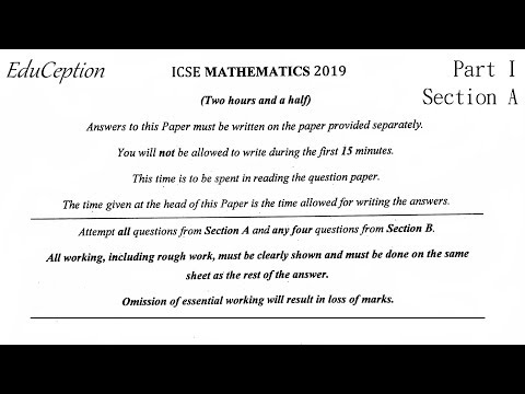 ICSE 2019 Mathematics Question Paper Solved