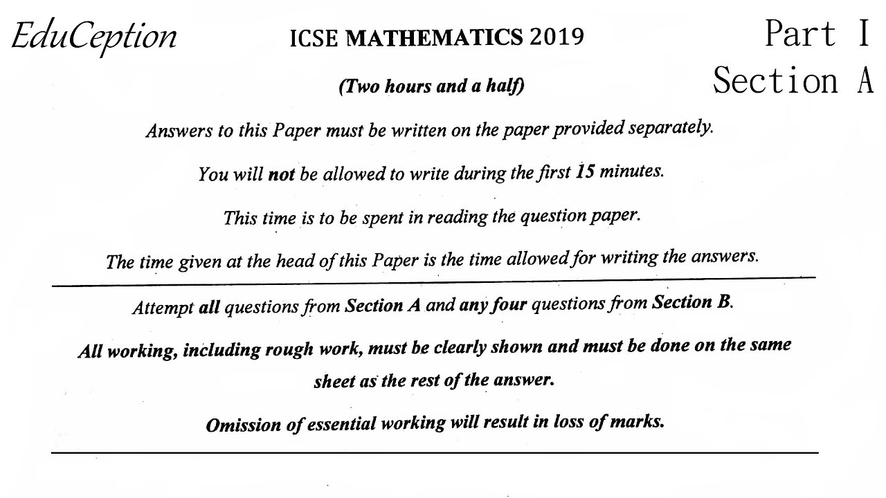 ICSE 2019 Mathematics Question Paper Solved