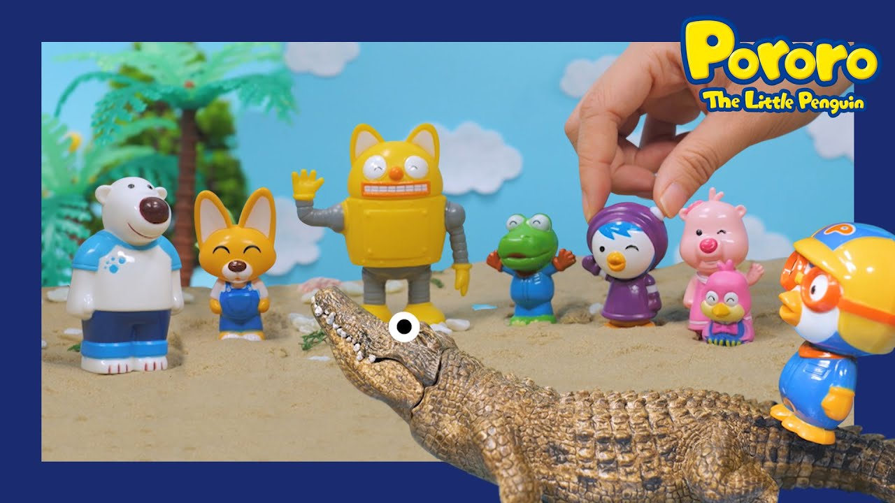 Shark attack !!   The Adventures on Summer Island 1   Pororo Toys   Pororo's mini world