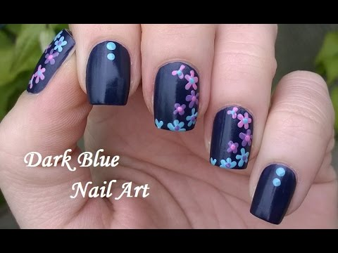 Dark Blue FLORAL NAILS / Colorful Flower Design - Toothpick Nail Art ...