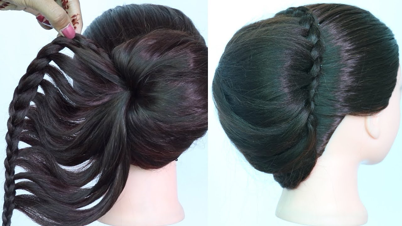 new french bun hairstyle with using clutcher || french roll hairstyle for wedding || french twist