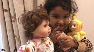 Ishfi feed milk to her favourite Doll